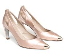 Nude Pink cap toe satin pumps
