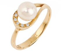 Perlenring mit Diamanten Eha