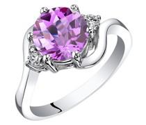 Ring aus Gold mit rosa Saphir und Diamanten Eliza
