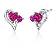 Herzohrringe aus Silber mit Rubinen Enrietah