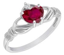 Claddagh-Ring mit Rubin und Diamant Norie