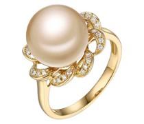 Romantischer Perlenring und Diamanten Qiana