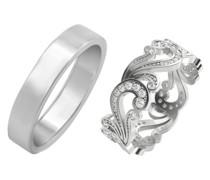 Vintage Eternity-Ring mit Diamanten und flacher Ring Greta
