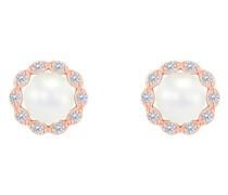 Halo-Ohrringe mit Diamanten und Perlen Arabella