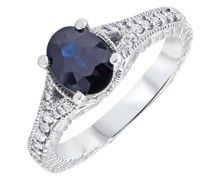 Vintage-Ring mit blauem Saphir und Diamanten Debri