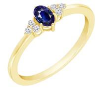 Goldring mit blauem Saphir und Diamanten Jufien