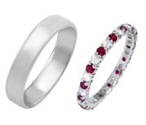 Eternity Ring mit Rubinen und Diamanten und Herren Komfort Ring Yacco