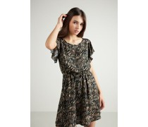 Kurzes Kleid aus Stoff mit Volantärmel