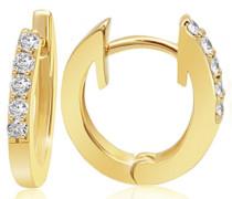 Damen-Creolen Memoire 585 Gelbgold 10 Diamanten 0,16 ct. Ohrringe Brillianten Schmuck