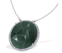 Damen-Halskette 925 Sterlingsilber Aventurin grüner 45 weiße Zirkonia Kettenanhänger Schmuck