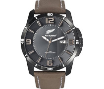 -680234-Armbanduhr-Quarz Analog-Zifferblatt schwarz Armband Leder braun