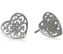 Damen-Ohrstecker Ornament Herz 925 Silber rhodiniert - ERE-ORNAHEART-ST