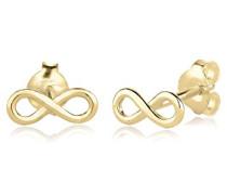 Premium Damen-Ohrstecker Infinity Unendlichkeit Klassiker 375 Gelbgold - 0312380814