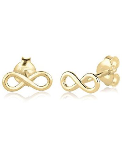 Damen-Ohrstecker Ohrringe Infinity Unendlichkeit Liebe Trend Blogger Filigran 375 gelbgold