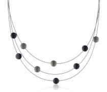 Damen-Collier Stahl Silikon 4 Titan-und 5 schwarze Ceramic-Scheiben 0852-05