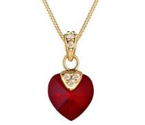 Damen-Kette mit Anhänger Herz 925 Silber Swarovski Kristall Herzschliff rot 45 cm - 0111382714_45