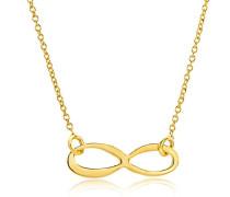 Kette Damen, Schmuck Gelbgold,Halskette Infinity Unendlichkeits Anhänger 9 Karat / 375 Gold 47.5 cm