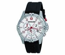 Wenger Herren-Armbanduhr XL Squadron Chronograph Quarz Silikon 77050