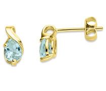 Damen-Ohrstecker 375 Gelbgold Aquamarin blau Tropfenschliff