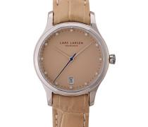 –139SSSL Damen-Armbanduhr–Quarz Analog–Armband Leder beige