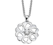 Pierre Cardin Damen Halskette 925 Sterling Silber rhodiniert Glas Zirkonia La Fleur 42 cm weiß S.PCNL90465D420