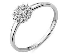 Damen Solitär-Ring Weißgold 9 kt Diamant 0,16 Karat-MY048R4 Dreiecke