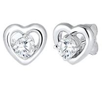 Damen-Ohrstecker Herz 925 Silber Zirkonia weiß Brillantschliff - 0308582616