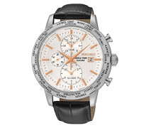 Seiko-spl053p1-Armbanduhr-Quarz Chronograph-Zifferblatt Beige-Armband Leder Schwarz