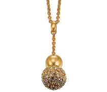 Damen Halskette 925 Sterling Silber rhodiniert Glas Zirkonia Réunion 42 cm braun S.PCNL90439E420