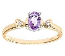 Damen-Ring 9 K Gelbgold P1 Diamant 0,01 ct Amethyst