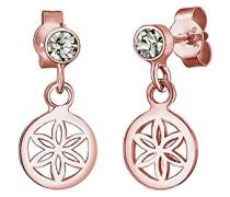 Damen-Ohrhänger Ornament Blume 925 Silber grau Brillantschliff Kristall - 0310740616