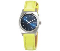 Nixon Damen-Armbanduhr Small Time Teller Navy / Neon Yellow Analog Quarz Leder A5092080-00