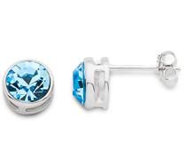 Damen-Ohrstecker 925 Sterling Silber Blue Swarovski Element rhodiniert Zirkonia blau Rundschliff - MS009E
