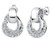 Damen-Ohrstecker Glamour Kristall Ohrstecker aus Swarovski Kristallen 925 Sterling Silber Brillantschliff weiß   - 0310292814