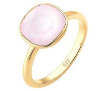 Damen Ring Vergoldet Kristall Prinzess pink