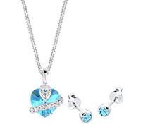 Damen-Halskette + Ohrringe Herz 925 Sterling Silber Swarovski Kristall blau Brillantschliff 0902932813_45