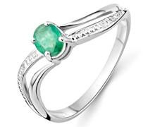 Miore Damen-Ring 375 Weißgold mit Emerald Gr. 56
