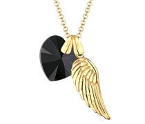 Damen-Kette mit Anhänger Herz, Flügel 925 Silber Swarovski Kristall Herzschliff schwarz 70 cm - 0112892414_70