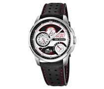Marc Marquez Kollektion 2015Herren Quarz-Uhr mit weißem Zifferblatt Analog-Anzeige und schwarz Lederband Scheiben-Abdeckung/1