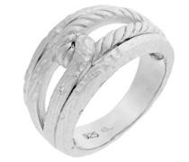Damen-Ring 925 Silber rhodiniert mattiert Zirkonia weiß Brillantschliff
