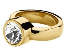 Damen-Ring Edelstahl 24ct. Vergoldet 1 Swarovski-Kristall Cyrielle 54 (17.2) 330328