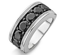 Damen-Ring 925 Silber rhodiniert Zirkonia schwarz Rundschliff