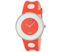 Alessi Unisex-Armbanduhr Analog Quarz Leder orange AL8013