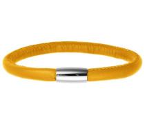 Damen Armband Edelstahl Magentverschluss Leder 20 cm gelb 12109-20