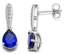 Damen-Ohrringe 925 Sterling Silber Saphir blau und Brillanten