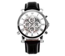 Automatik Armbanduhr von  für Männer mit einem echten Diamanten mit Weißem Zifferblatt Analoger Anzeige und Schwarzem Armband aus Leder SK14H033