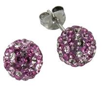 Crystelle Damen-Ohrstecker 925 Silber rhodiniert Kristall Rundschliff rosa - 340220001-1