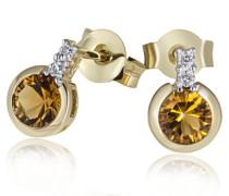 Damen-Ohrstecker 9 Karat 375 Gelbgold 2 Citrin 4 Diamanten 0,02 ct. Fa O2944GG375 Ohrringe Schmuck