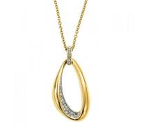 Damen-D41121DZ-Halskette Edelstahl Zirkonia Gold - 47 cm