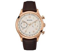 Classic Vintage 97B148 - Herren Designer-Armbanduhr - Chronograph mit Armband aus Leder - Roségoldfarben mit weißem Zifferblatt